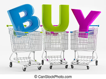 Shopping - Three shopping carts with large letters BUY