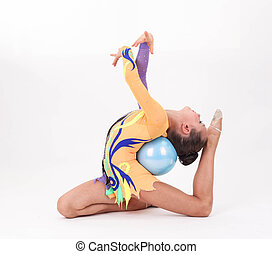 Beautiful flexible girl gymnast  over white background