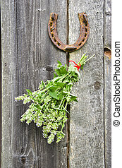 lemon-balm healthy herbs and rusty horseshoe on old wooden...