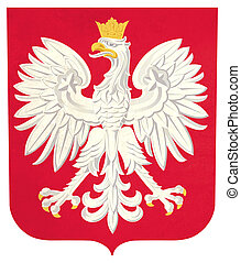 Grunge Poland coat of arms illustration, isolated on white...