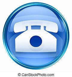 phone icon blue, isolated on white background.