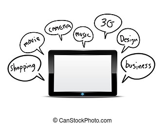 Tablet computer with function information