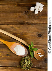 Stevia on a table - Dried and processed natural sweetener...