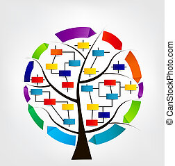 Concept of colorful circular banners with arrows for different business design on tree. Vector illustration.