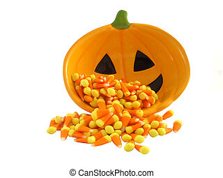 Candy Corn Isolated - Pumpkin dish and Halloween candy corn...