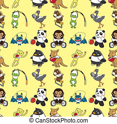 seamless animal sport pattern,cartoon vector illustration