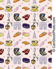 seamless Paris element pattern,cartoon vector illustration