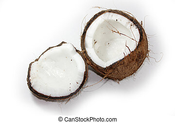 Cracked coconut isolated - Closeup of cracked coconut on...