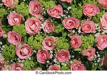 rosa, rosa, boda, centro de mesa