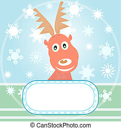 Christmas rudolph with winter background