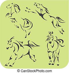 luz, caballos, -, vector, Conjunto, Vinyl-ready