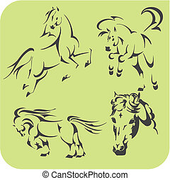 Light Horses - vector set Vinyl-ready - Light Horses -...
