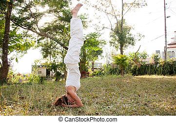 Female Yoga Master - Yoga female master with perfect balance...