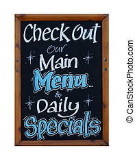 Main menu and daily specials sign isolated on white...