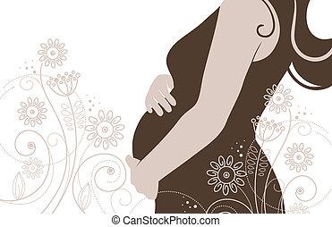silueta, grávida, mulher, flores