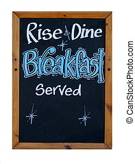 Rise and dine breakfast served sign isolated on white...