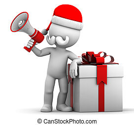 Santa with gift box and megaphone - 3d Santa holding gift...