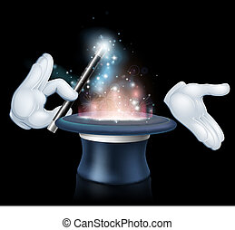 Magician wand and top hat trick - Magicians hands holding a...