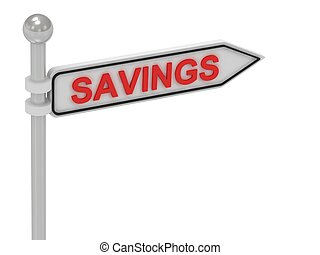 SAVINGS arrow sign with letters