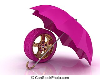 Beautiful pink wheel with a gold disc