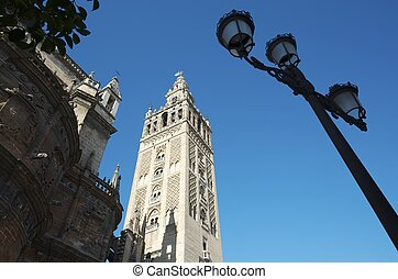 Giralda - cathedral and tower known as the Giralda, Seville,...