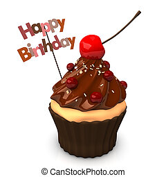 Happy Birthday Choco Cake - Happy Birthday cupcake with...