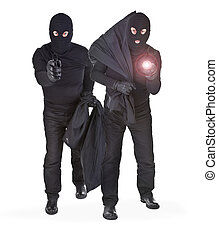 pair of two robbers on white background INSPECTORS NOTE: the...