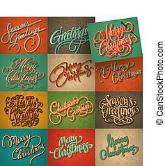 vintage Christmas cards set, vector - set of 12 Christmas...