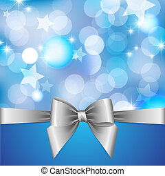 blue background with blurred lights, stars and silver bow