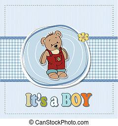 baby boy shoawer card with teddy bear