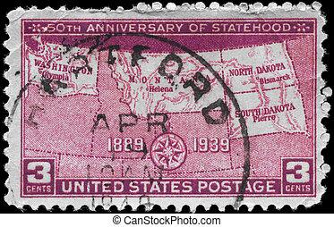 USA - CIRCA 1939 Statehood - USA - CIRCA 1939: A Stamp...