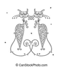 Couple of cats silhouette for your design