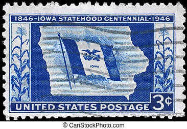 USA - CIRCA 1946 Iowa Statehood - USA - CIRCA 1946: A Stamp...