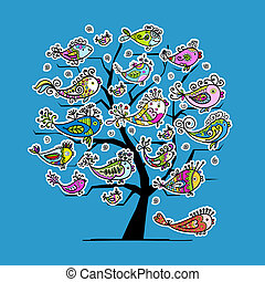 Underwater tree with funny fishes for your design