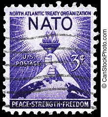USA - CIRCA 1952 NATO - USA - CIRCA 1952: A Stamp printed in...