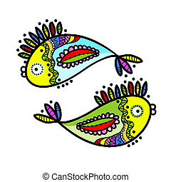 Sketch of funny fishes for your design