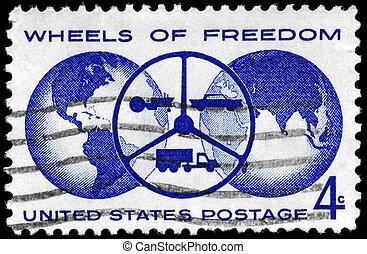 USA - CIRCA 1960 Wheels of Freedom - USA - CIRCA 1960: A...