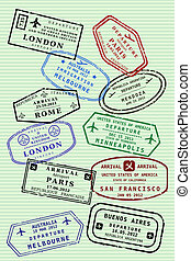 Visa stamps - Various colorful visa stamps (not real) on a...