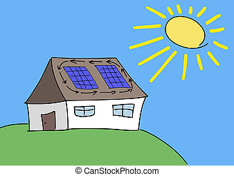 Solar power - Doodle drawing - solar energy concept...