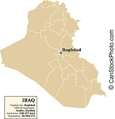Iraq map with outlines of provinces (governorates)