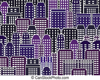 Night city - Simple city illustration - skyscrapers and...