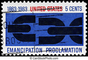 USA - CIRCA 1963 Severed Chain - USA - CIRCA 1963: A Stamp...