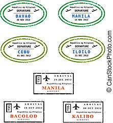 Travel stamps from Philippines. Grungy stamps vector.