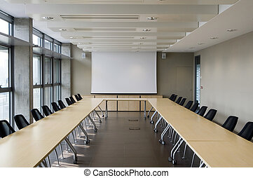 meeting room with a projection screen