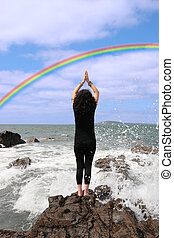 live your dream 5 - a beautiful woman chasing a rainbow to...