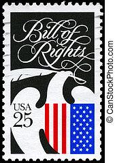 USA - CIRCA 1989 Bill of Rights - USA - CIRCA 1989: A Stamp...