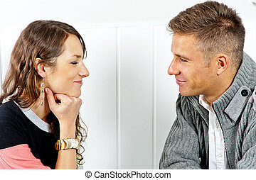 Couple on date in restaurant man and woman