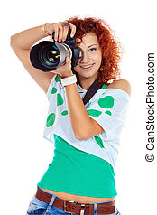 paparazzo - Pretty young woman taking pictures on the...
