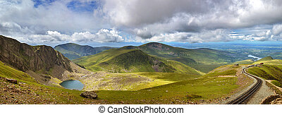 Snowdonia panorama - Panorama of the mountains of Snowdonia...