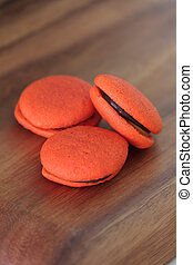 Orange marron cookies with chocolate cream